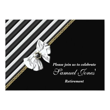 Professional Business Black white formal retirement engagement CUSTOM Card