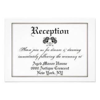 Black white formal vintage wedding invite