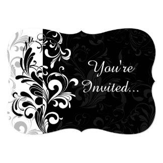 Black White Fountain Swirl Party 5x7 Paper Invitation Card