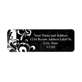 Black White Fountain Swirl Party Custom Return Address Label
