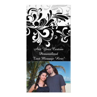 Black White Fountain Swirl Party Personalized Photo Card
