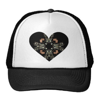 Black & White Fractal Art with Red Flowers Heart Mesh Hat
