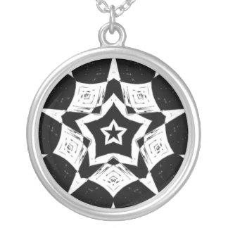 Black White Fractal Star Mandala Sterling Necklace