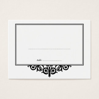Black white frame wedding escort guest seating business card