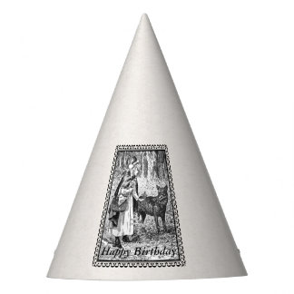 Black White Framed Birthday Red Riding Hood Wolf Party Hat