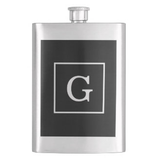 Black White Framed Initial Monogram Flask