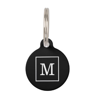 Black White Framed Initial Monogram Pet ID Tag