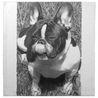 Black & White Frech Bulldog Servilletas