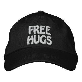 Black/White Free Hugs Hat Embroidered Baseball Cap