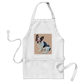Black & White French Bulldog Wearing Red Glasses Adult Apron