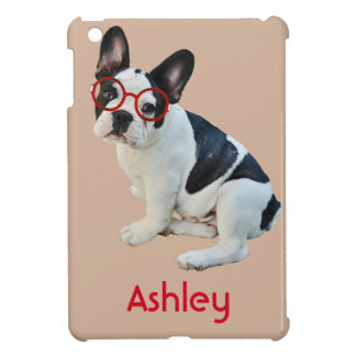 Black & White French Bulldog Wearing Red Glasses Cover For The iPad Mini