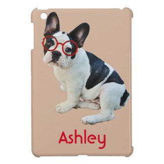 Black & White French Bulldog Wearing Red Glasses iPad Mini Covers