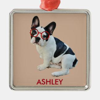 Black & White French Bulldog Wearing Red Glasses Metal Ornament