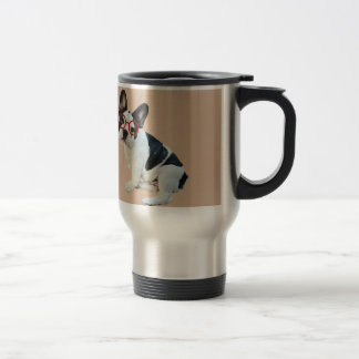 Black & White French Bulldog Wearing Red Glasses Travel Mug