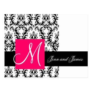 Black White Fuchsia Damask Wedding Announcement Postcard