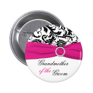 Black, White, Fuchsia Grandmother of the Groom Pin
