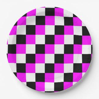 Black White Fuchsia Magenta Squares Paper Plate