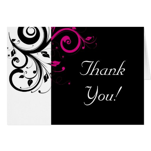 Black, White, Fuchsia Reverse Swirl Thank You Card