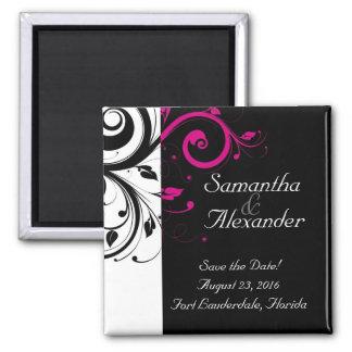 Black, White, Fuchsia Reverse Swirl Wedding Magnet