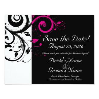 Black, White, Fuchsia Swirl Wedding Save the Date 4.25x5.5 Paper Invitation Card