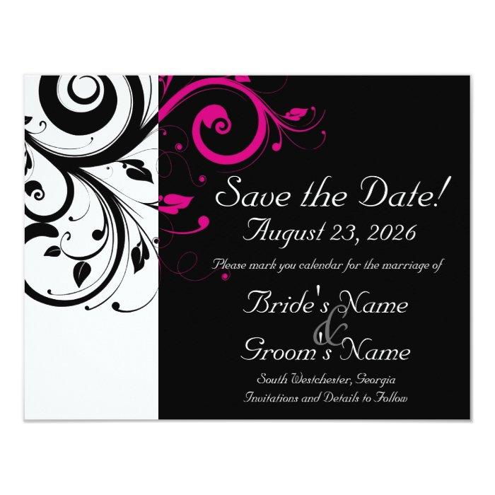 Black, White, Fuchsia Swirl Wedding Save the Date Card