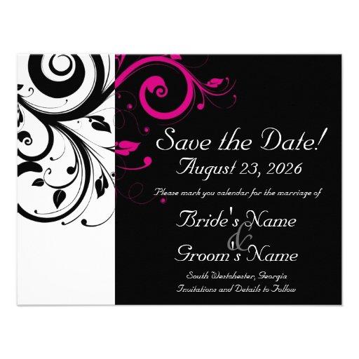 Black, White, Fuchsia Swirl Wedding Save the Date Personalized Invites