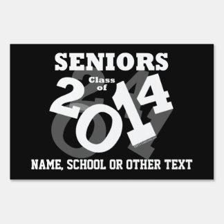Black White Fun Senior Class of 2014 Graduation Lawn Signs