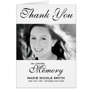 Black & White Funeral Thank You Personalized Photo