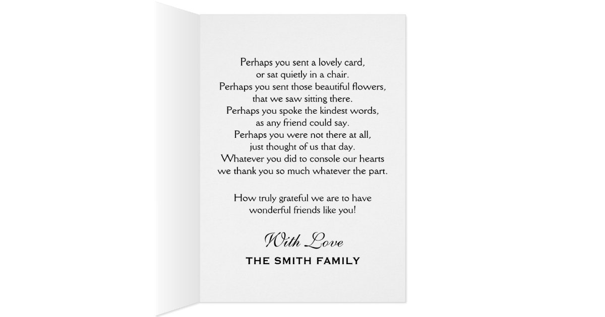 Black White Funeral Thank You Personalized Photo Card – Funeral Words for Cards