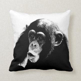 Black White Funny Chimpanzee Throw Pillow