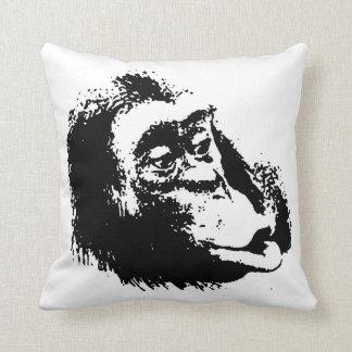 Black White Funny Pop Art Chimpanzee Throw Pillow