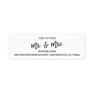Black White Future Mr & Mrs Wedding Return Address Label