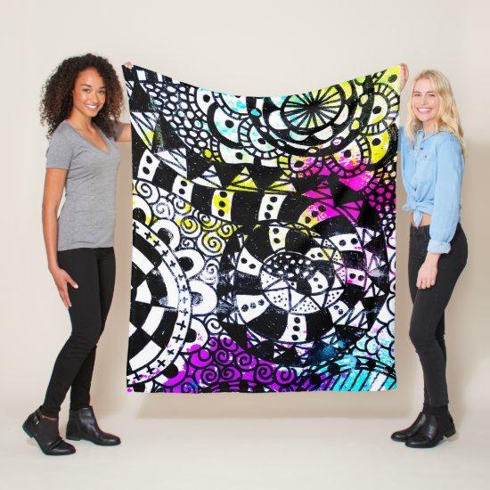 Black White Geometric Aqua Yellow Purple Pink Fun Fleece Blanket