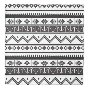 Aztec Themed Black & White Geometric Aztec Print Duvet Cover