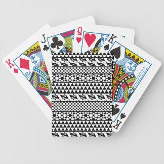Black White Geometric Aztec Tribal Print Pattern Bicycle Playing Cards