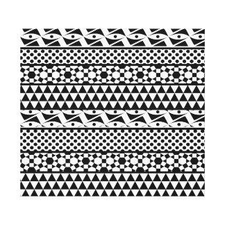 Black White Geometric Aztec Tribal Print Pattern Canvas Print