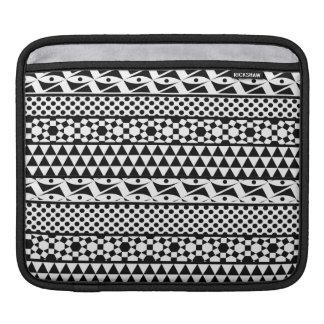 Black White Geometric Aztec Tribal Print Pattern iPad Sleeves