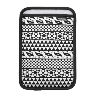 Black White Geometric Aztec Tribal Print Pattern iPad Mini Sleeve