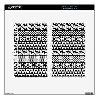 Black White Geometric Aztec Tribal Print Pattern Kindle Fire Skins