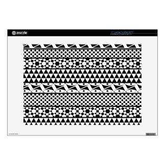 Black White Geometric Aztec Tribal Print Pattern Laptop Skins