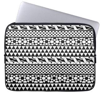 Black White Geometric Aztec Tribal Print Pattern Laptop Computer Sleeves