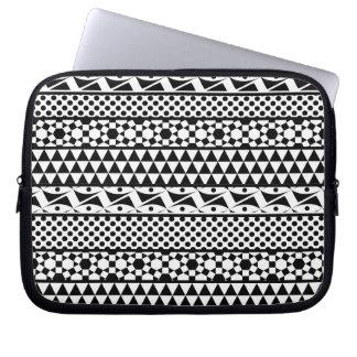 Black White Geometric Aztec Tribal Print Pattern Laptop Computer Sleeve