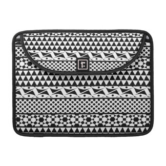 Black White Geometric Aztec Tribal Print Pattern Sleeves For MacBook Pro