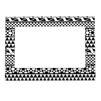 Black White Geometric Aztec Tribal Print Pattern Picture Frame Magnet