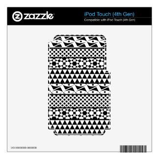 Black White Geometric Aztec Tribal Print Pattern Skin For iPod Touch 4G