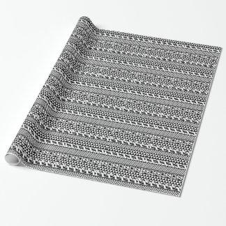 Black White Geometric Aztec Tribal Print Pattern Wrapping Paper