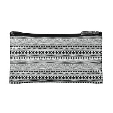 Aztec Themed Black/White Geometric Boho Ethnic Print Makeup Bag
