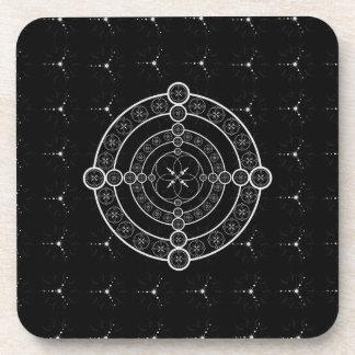 Black White Geometric Crop Circle Beverage Coaster