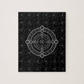 Black White Geometric Crop Circle Jigsaw Puzzle