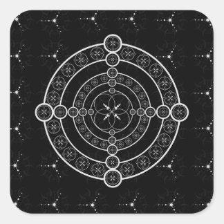 Black White Geometric Crop Circle Square Sticker